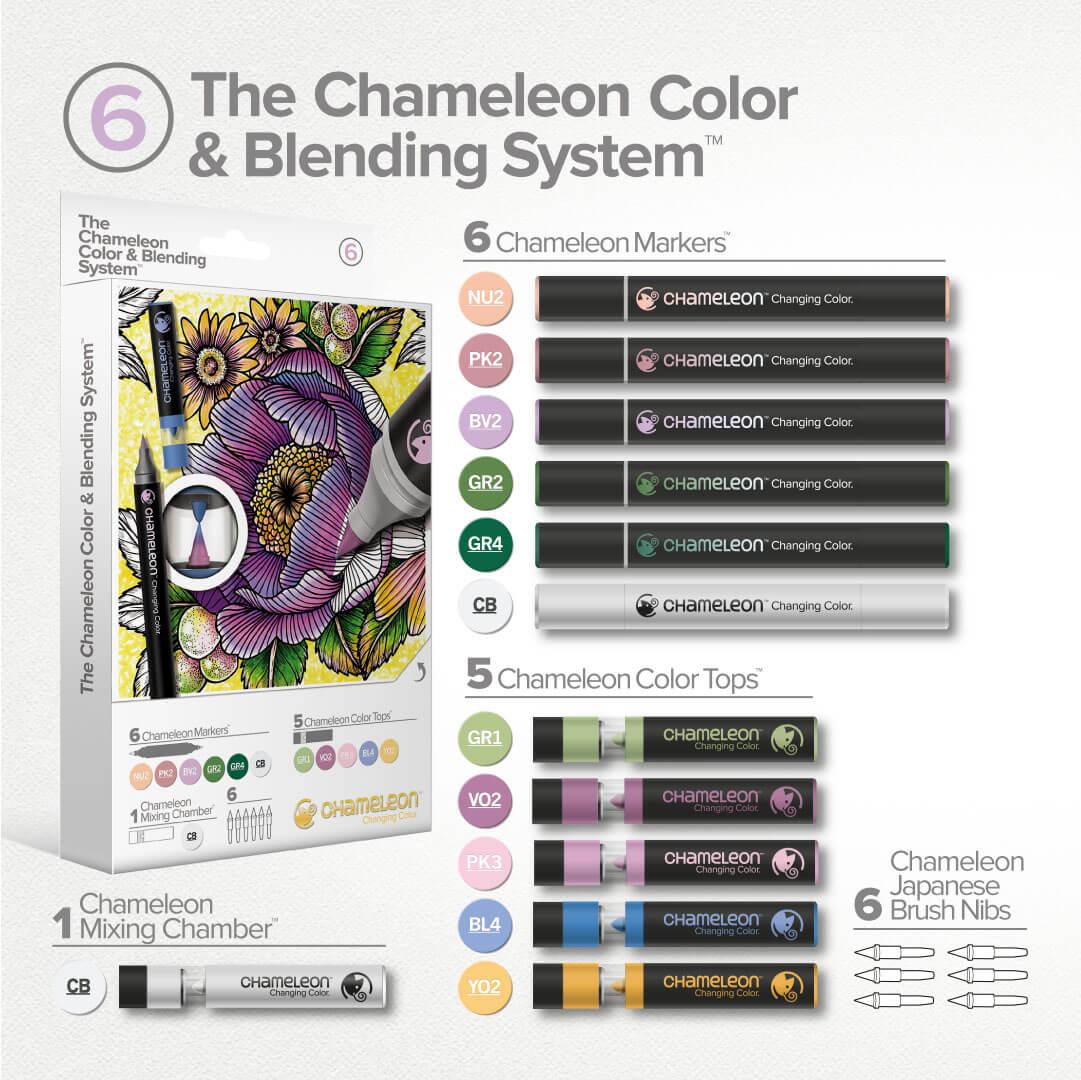 Set carioci cu schimbare de tonalitate & nuantatoare CHAMELEON PENS CS6606UK