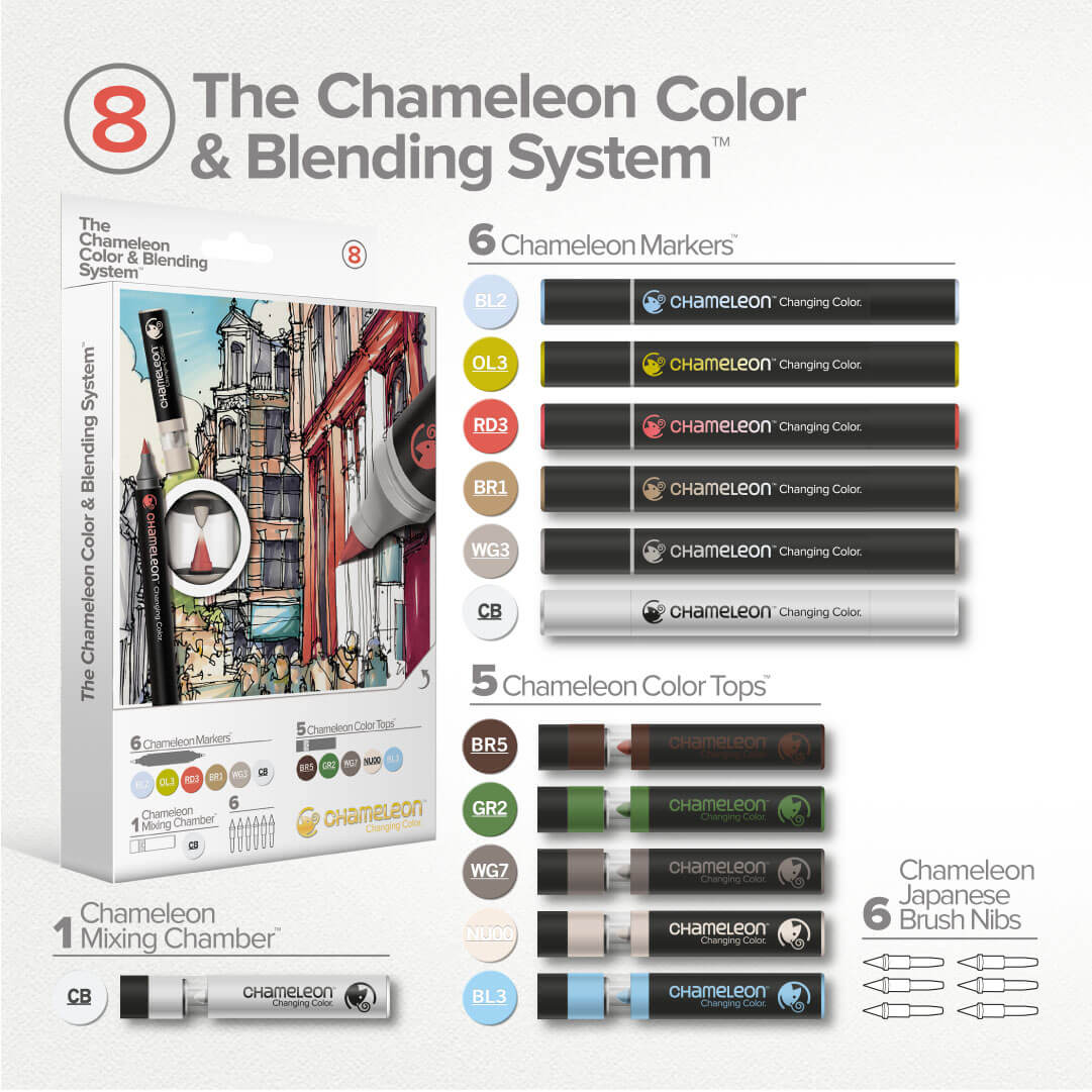 Set carioci cu schimbare de tonalitate & nuantatoare CHAMELEON PENS CS6608UK