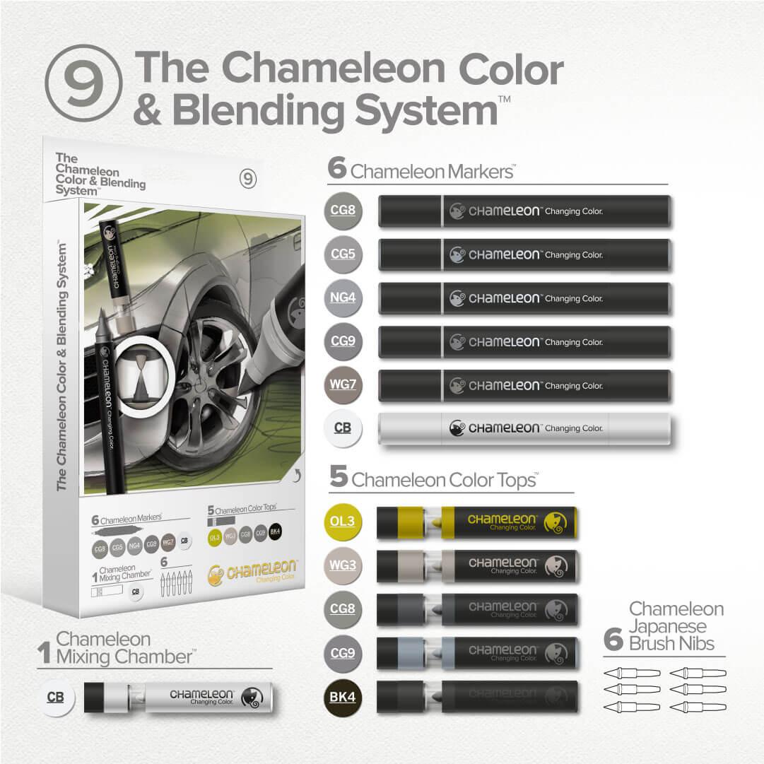 Set carioci  cu schimbare de tonalitate & nuantatoare CHAMELEON PENS CS6609UK